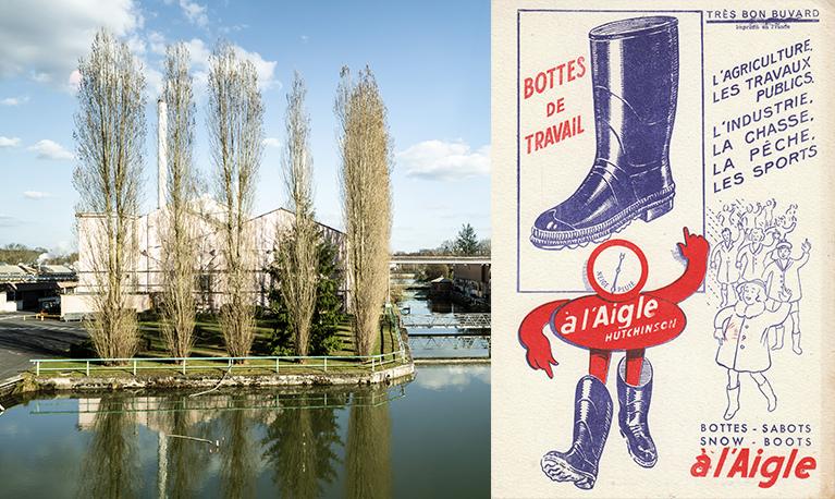 Hiram Hutchinson, un Américain vivant en France, achète le brevet de vulcanisation du caoutchouc à Charles Goodyear et crée en 1853 la marque